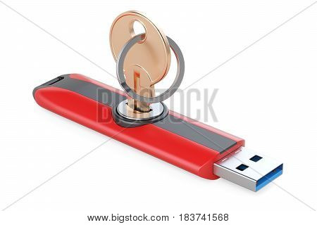 USB flash drive with key safety concept. 3D rendering isolated on white background