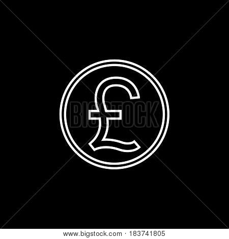 Pound sterling coin line icon, finance and business, Pound sign vector graphics, a linear pattern on a black background, eps 10.
