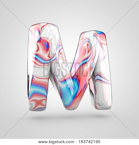 Glossy Water Marble Alphabet Letter M Uppercase Isolated On White Background