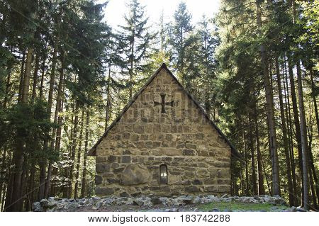 Small ancient church in a forest, Borjomi, Georgia