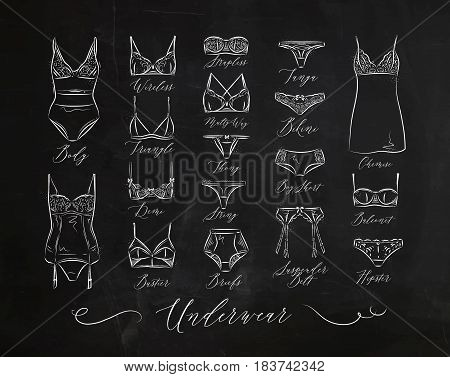 Set of classic underwear icons in vintage style drawing with chalk on chalkboard