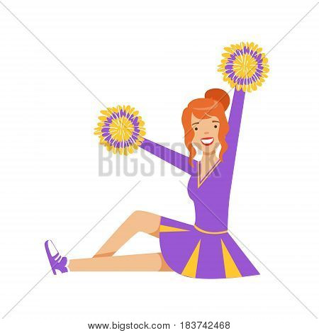 Smiling red haired girl teenager sitting with colorful pompoms. Purple and yellow cheerleader uniform. Colorful cartoon character vector Illustration isolated on a white background