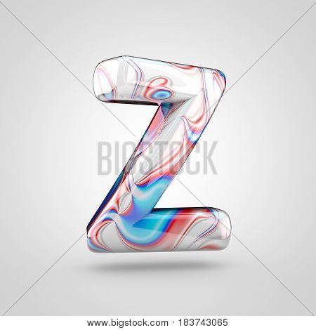 Glossy Water Marble Alphabet Letter Z Uppercase Isolated On White Background