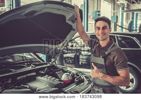 Handsome Auto Service Worker