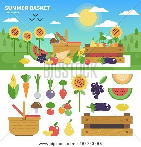Geometric illustartion of the basket with vitamins. Fruits and vegetables on the lawn in a sunny day. Fruits and vegetables icons isolated on white background