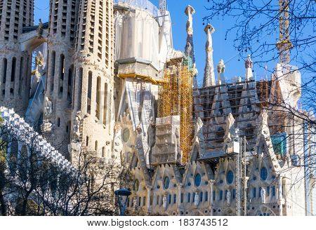 BARCELONA SPAIN - February 9, 2017: Sagrada Familia in Barcelona, is the capital city of the autonomous community of Catalonia in the Kingdom of Spain,February 9, 2017 in Barcelona Spain.
