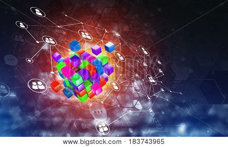 Conceptual background image with cube figure and social connection lines. 3d rendering