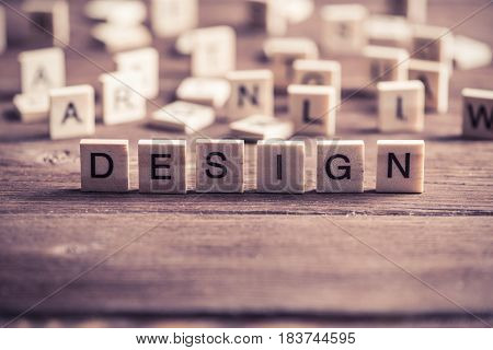 Design word collected of elements of wooden elements with the letters