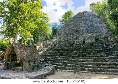 Pyramid in Coba Mexico known as The Church in historic Mayan