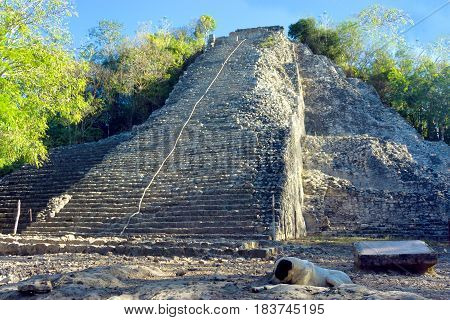 Nohoch Mul pyramid in in the Mayan ruins of Coba Mexico