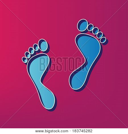 Foot prints sign. Vector. Blue 3d printed icon on magenta background.
