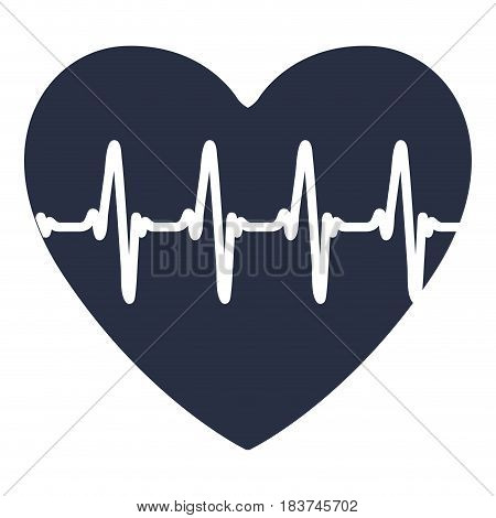 white background with dark blue icon of heartbeat vector illustration
