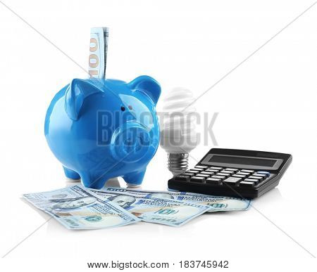 Cute piggy bank with money on white background