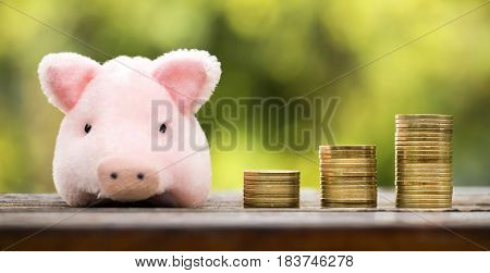 Web banner of money savings concept - coins with a pink pig