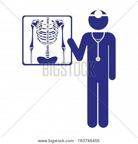 color silhouette pictogram doctor and radiography vector illustration