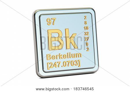 Berkelium Bk chemical element sign. 3D rendering isolated on white background