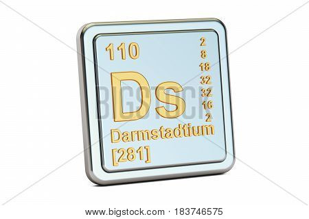 Darmstadtium Ds chemical element sign. 3D rendering isolated on white background