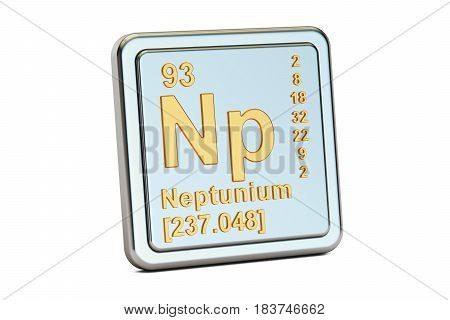 Neptunium Np chemical element sign. 3D rendering isolated on white background