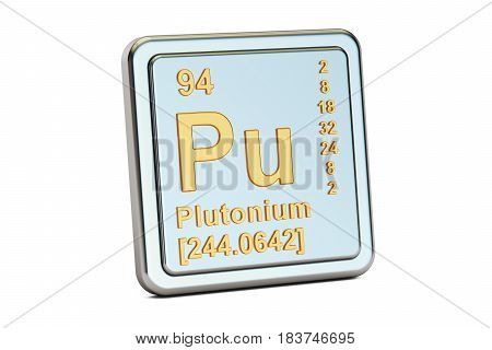 Plutonium Pu chemical element sign. 3D rendering isolated on white background