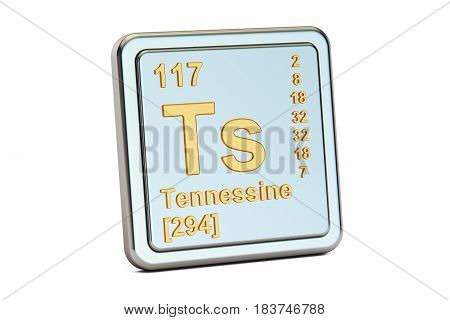 Tennessine Ts chemical element sign. 3D rendering isolated on white background