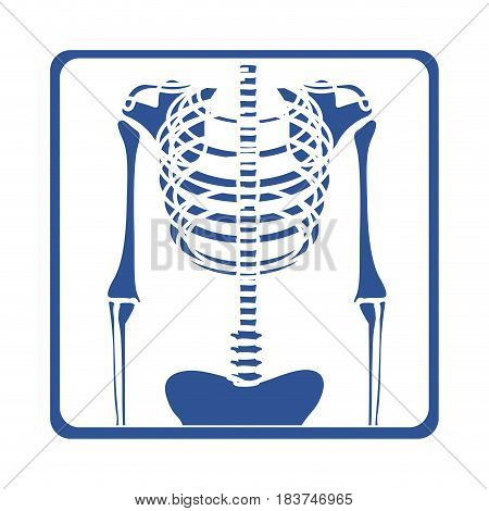 color silhouette with x-ray of bones vector illustration