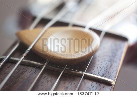 Acoustic Guitar And Wood Plectrum Strings Macro, Soft