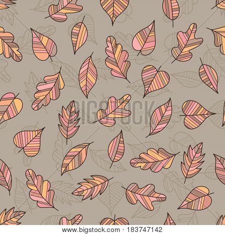 Creative Seamless Pattern of Pastel Leaves on Coffee-Colored Backdrop. Continued Botanical Background for Cloth Fabric Textile Tissue.