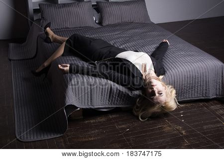 Crime Scene (imitation). Strangled Business Woman