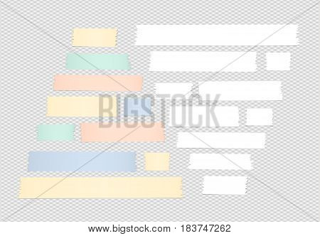 Colorful and white pyramid shapes, different size adhesive, sticky tape, paper pieces on squared background.