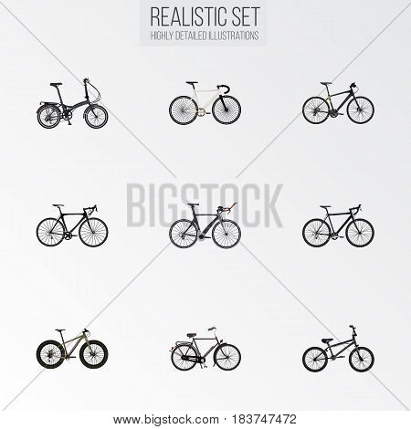 Realistic Bmx, Folding Sport-Cycle, Cyclocross Drive And Other Vector Elements. Set Of Sport Realistic Symbols Also Includes Folding, Dutch, Road Objects.