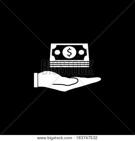 Moneys in hand solid icon, finance and business, Bundle of money sign vector graphics, a filled pattern on a black background, eps 10.