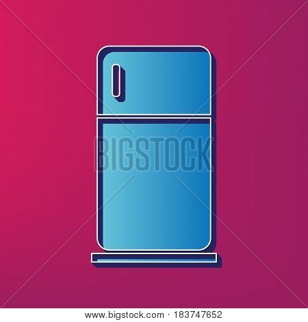 Refrigerator sign illustration. Vector. Blue 3d printed icon on magenta background.