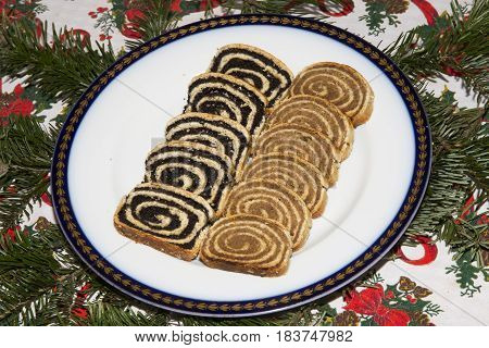 Hungarian homemade traditional walnut and poppy seeds festive sweetness