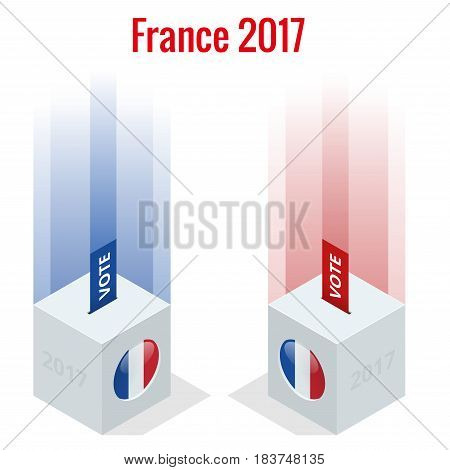 Presidential Election in France 2017, ballot box in front.