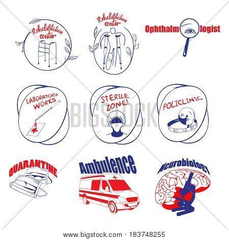 Doodle medical logos and labels set with laboratory rehabilitation ophthalmology equipment ambulance masks brain isolated vector illustration