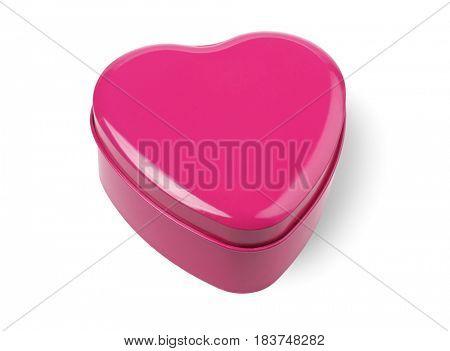 Heart Shaped Gift Box on White Background