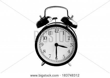 Alarm clock with beep sound isolated on white. Vintage round mechanical watch. The time in retro style. The device, which reliably Wake a person. Minutes and seconds on the dial.