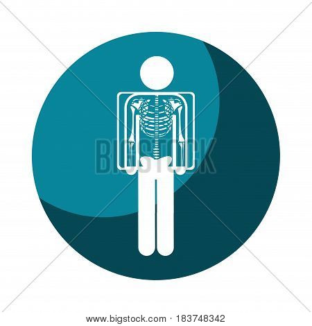 color circular frame shading with pictogram patient and radiography vector illustration