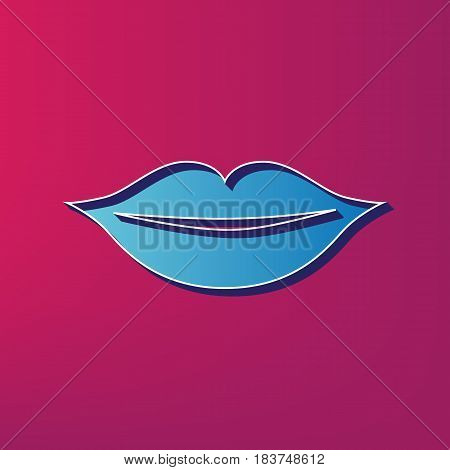 Lips sign illustration. Vector. Blue 3d printed icon on magenta background.