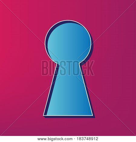 Keyhole sign illustration. Vector. Blue 3d printed icon on magenta background.