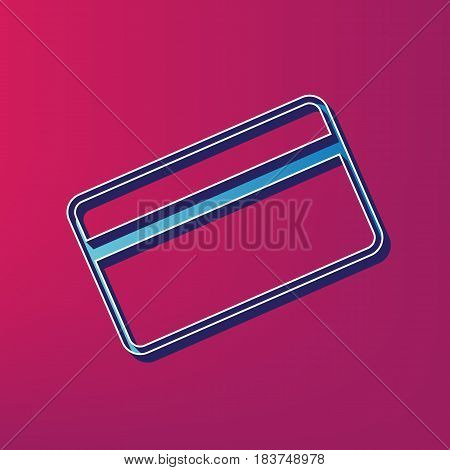 Credit card symbol for download. Vector. Blue 3d printed icon on magenta background.