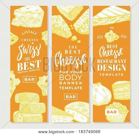 Hand drawn food products vertical banners with different sorts and varieties of cheese vector illustration