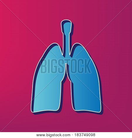 Human anatomy. Lungs sign. Vector. Blue 3d printed icon on magenta background.