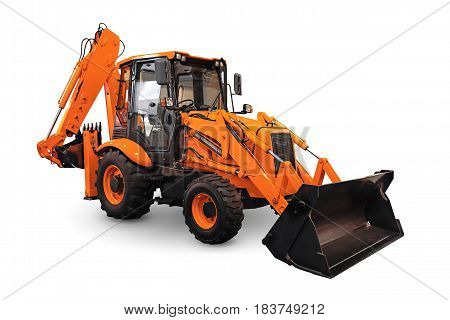 Orange earth mover isolated on a white background
