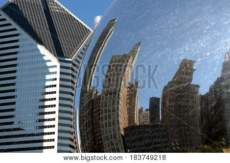 Reflection of buildings in Chicago, Illinois, USA