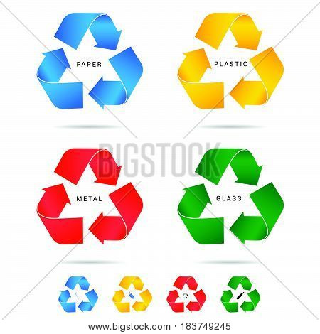 Recycle Icon For Paper Plastic And Metal Set Illustration