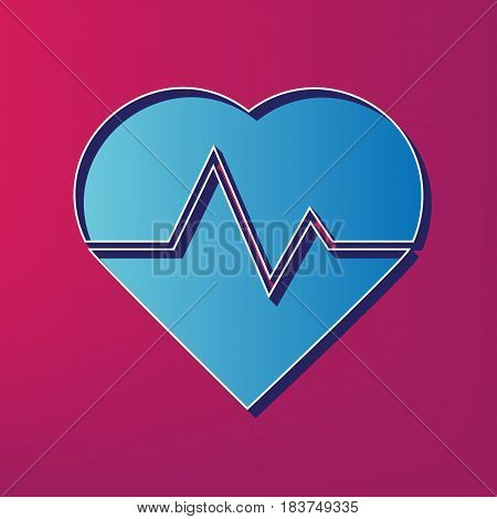 Heartbeat sign illustration. Vector. Blue 3d printed icon on magenta background.