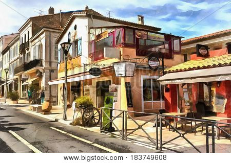 Old town street cityscape colorful painting, Vallauris, France