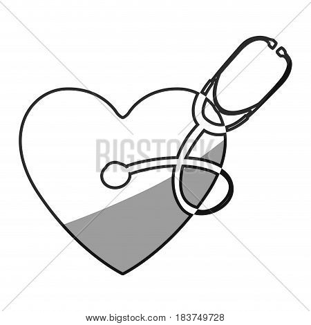 grayscale silhouette of of heart with stethoscope vector illustration