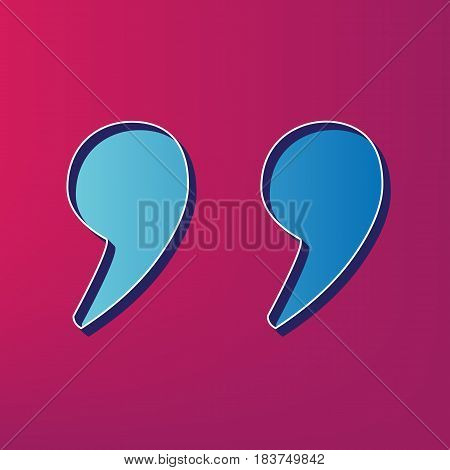 Quote sign illustration. Vector. Blue 3d printed icon on magenta background.